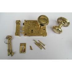 Ornate East Lake Lock & Georgian Rim Brass Set