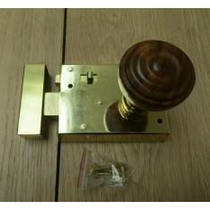 "4"" Rim Latch Brass & Bun Rimmed Teak + Brass Set"