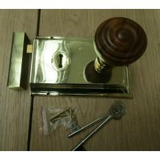 "6"" Rim Lock Brass & Bun Rimmed Teak + Brass Set"