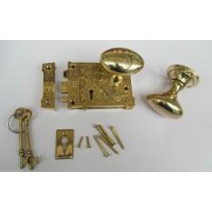 Ornate East Lake Lock & Oval Rim Brass Set