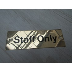 Rectangular Brass Staff Only Door Sign