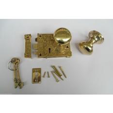Ornate East Lake Lock & Victorian Round Rim Brass Set