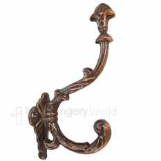 Buckingham Ornate Coat Hook Antique Copper