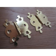 Pair Of Large Butterfly Butt Hinges Brass Plated