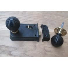 Large Cast Iron Rim Latch Black & Beehive Black + Brass Set
