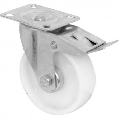 White Plastic Castor Wheel 75mm Braked Swivel