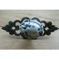 Oval White Cracked Glazed Knob With Antique Iron Backplate