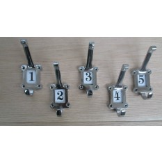Ceramic Insert 1-5 Numbered Coat Hooks Chrome