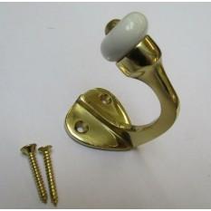 Pack of 5 Gloucester Single Ceramic Robe Hook Polished Brass