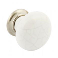 Ceramic Bone Crackle Cabinet Knob chrome