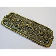 Antique Brass Cherub Finger Plate