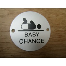Circle Satin Aluminium Baby Change Door Sign