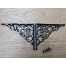"5/"" PAIR OF BLACK VICTORIAN SCROLL  cast iron ornate shelf support wall brackets"