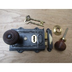 Davenport Rim Lock Antique Iron & Beehive Teak + Brass Set