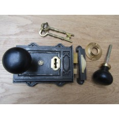 Davenport Rim Lock Antique Iron & Plain Bun Ebony + Brass Set