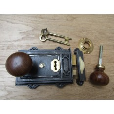 Davenport Rim Lock Antique Iron & Plain Bun Teak + Brass Set