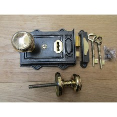 Davenport Rim Lock Antique Iron & Georgian Rim Brass Set