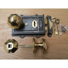 Davenport Rim Lock Antique Iron & Octagonal Rim Brass Set