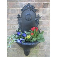 Decorative Metal Flower Pot Wall Mounted Black Antique