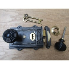 Davenport Rim Lock Antique Iron & Beehive Ebony + Brass Set
