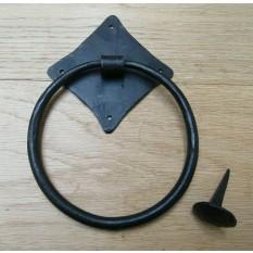 Hand Forged Diamond Ring Door Knocker Black Wax