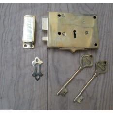 DUAL HANDED SOLID BRASS VINTAGE RETRO OLD ENGLISH VICTORIAN RIM DOOR KEY LOCK