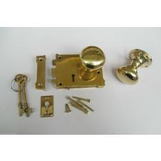 East Lake Plain Lock & Victorian Round Rim Brass Set