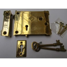 Solid Brass Construction Small Plain Eastlake Rim Lock