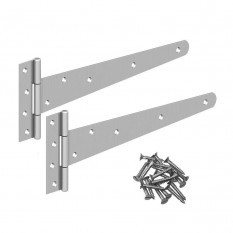 Pair of Electro Galvanised Silver T-Hinges 14""