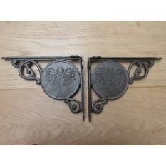 "Pair Of 9"" fever Tree Shelf Brackets Antique Iron"
