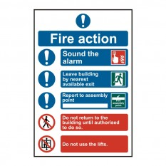 PVC Fire Action Safety Sign Fire Action Procedure