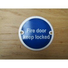 Circle Satin Aluminium Fire Door Keep Locked Door Sign