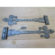 """Pair of 18"""" Fleur de lys Hinges Antique Iron"""