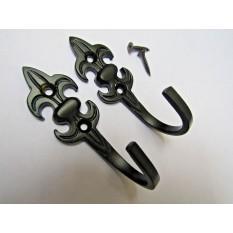 Pair of Black Curtain Hooks Large Fleur De Lys