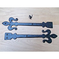 "Pair of hinge fronts black antique 16"" Fleur de lys Code 1"
