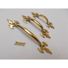 "Fleur De Lys Cabinet Pull Handle Polished Brass 5"""