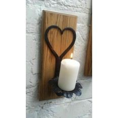 Hand forged Candle holder on wood base Heart Floral Small