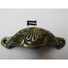 Floral Cabinet Cup Pull Handle antique brass on iron