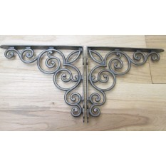 "Pair of 12"" Cast iron vintage Scroll shelf brackets cistern sink toilet"