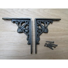 Pair Of Floret Shelf Brackets Antique iron