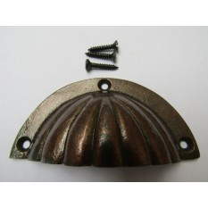 Fluted Cabinet Cup Pull Handle Antique Copper