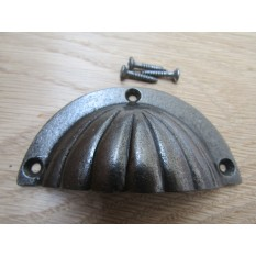 Fluted Cabinet Cup Pull Handle Antique Iron
