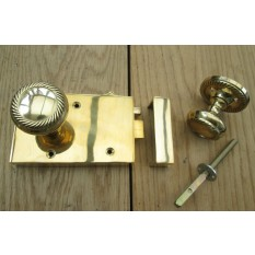 Solid Brass Old Style Door Georgian door RIM LATCH KNOB SET- RIGHT HANDED LATCH+ KNOB GEORGIAN POLISHED BRASS