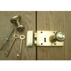 Solid Brass Georgian door RIM LOCK  KNOB SET- LEFT HANDED LOCK