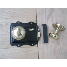 POLISHED BRASS TRADITIONAL CLASSIC STYLE BEDROOM BLACK RIM DOOR LATCH LOCK & RIM KNOB HANDLES- GEORGIAN/ROPE EDGE RIM KNOB