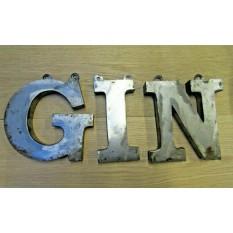 """8"""" GIN Metal Industrial Rustic Words"""