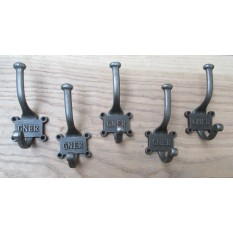 5 X Cast iron vintage old style coat hooks school coat hooks rack board