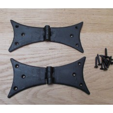 "Pair Of 6"" Hand Forged Gothic Bat Door Hinges"