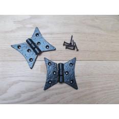 Cast Iron Gothic Cabinet Butt Hinges black antique