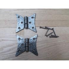 Cast Iron Gothic Cabinet Butt Hinges antique iron